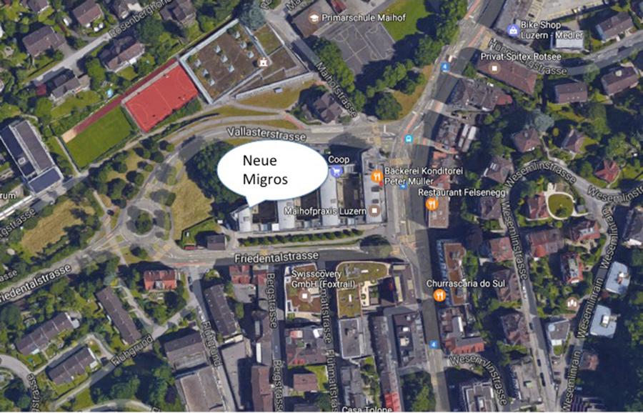 Der neue Standort der Migros im Luzerner Maihof an der Friedentalstrasse 8.
