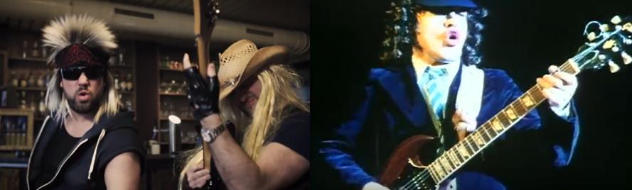 Rechts der vergleichsweise aufgeräumte AC/DC-Gitarrist, links die Vokuhila-/Blondinen-Version des Cheers.