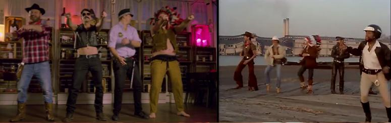 «YMCA» mit Wohlstandsbauch. Links die Version des «Meatings». Rechts die 70er-Jahre-Version.