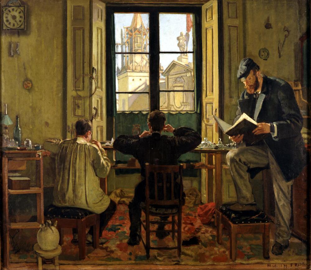 Ferdinand Hodler (1853–1918), Die Uhrmacherwerkstätte in Madrid, 1879 Öl auf Leinwand, 82 x 93 cm. Eigentum der Schweizerischen Eidgenossenschaft, Gottfried Keller- Stiftung, Bern