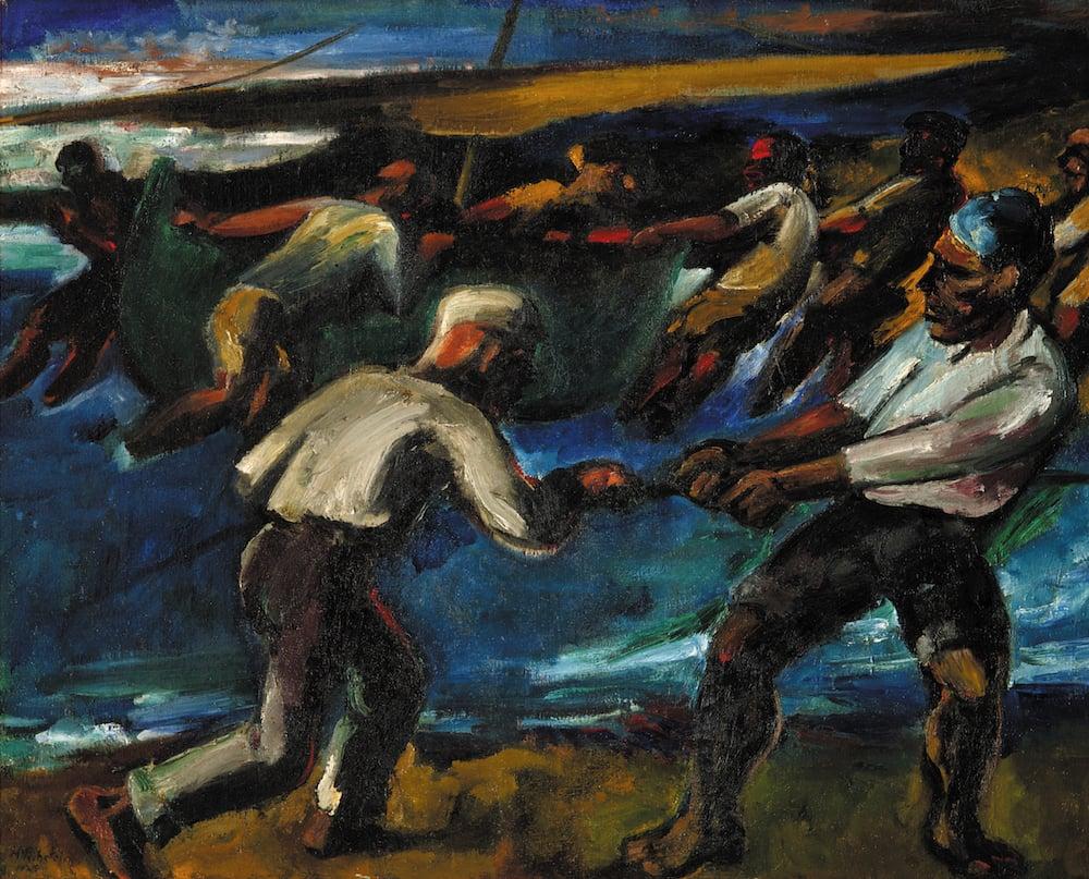 Max Pechstein (1881–1955), Einholen des Bootes, 1925 Öl auf Leinwand, 81 x 100.5 cm. Kunstmuseum Luzern.