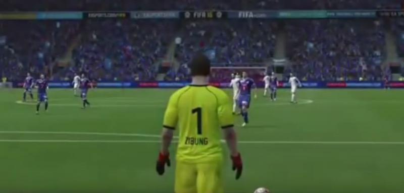 David Zibung führt in «Fifa 17» einen Abstoss aus.
