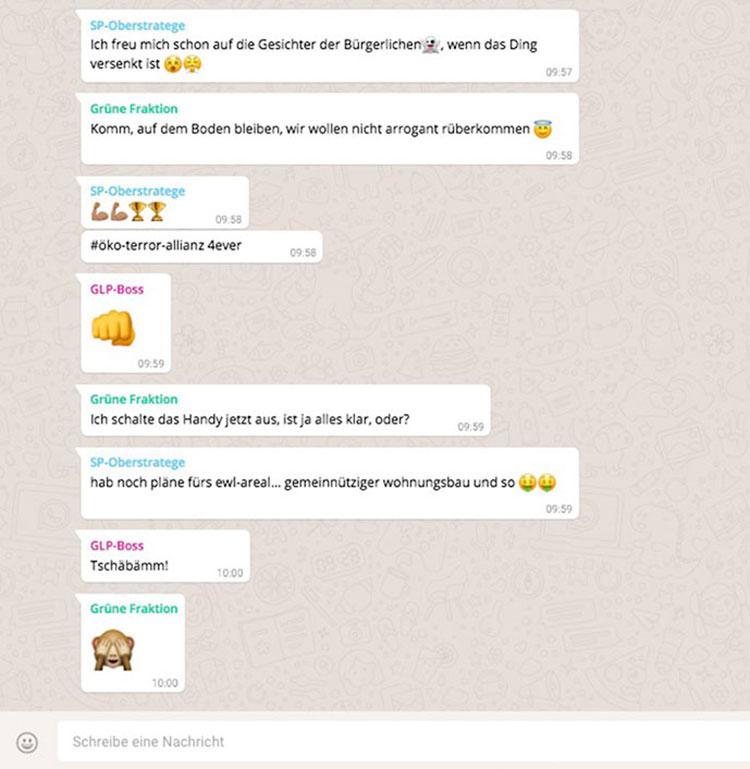 Fiktiver WhatsApp-Chat zwischen SP, GLP und Grünen.