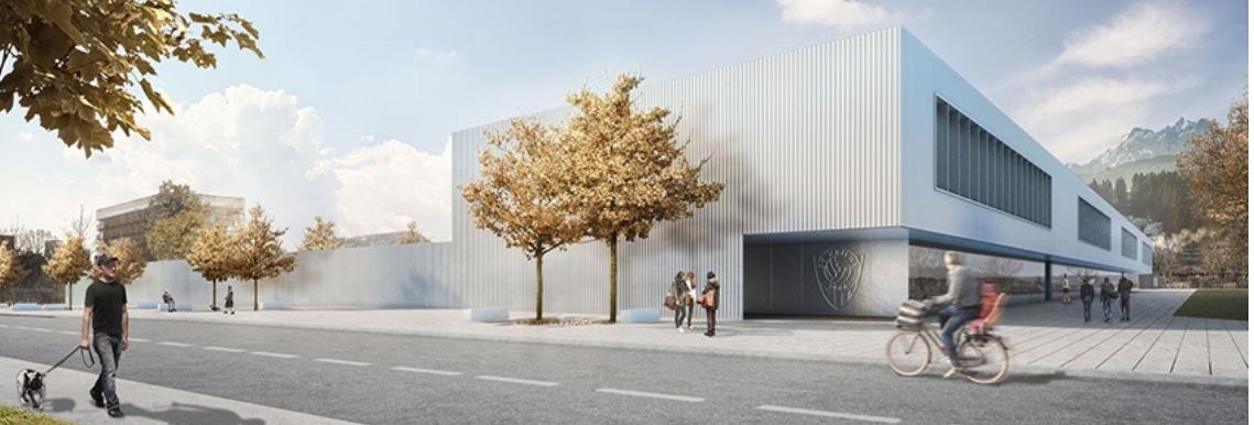 So soll es aussehen: Das geplante Sportzentrum Kleinfeld von der Horwerstrasse her.