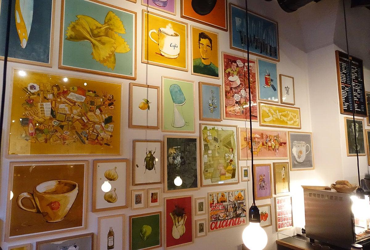 Felice Brunos Werke zieren die Wände der Raviolibar.