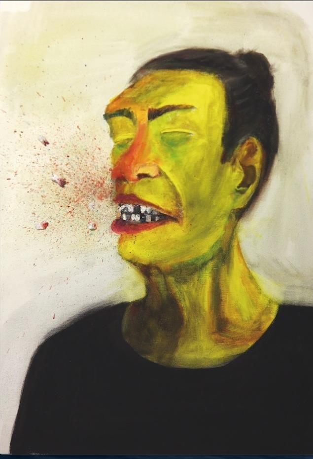 Gewaltiger Ausbruch, Gouache auf Leinwand, 70×50 cm von Paula Weibel