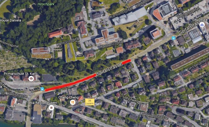 Auf dem rot markierten Abschnitt soll die elektronische Busspur zum Einsatz kommen.