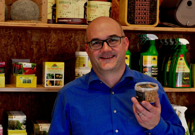 Urs Fanger zeigt die Mehlwürmer, die Entomos heute schon verkauft – als gefriergetrocknete Futterinsekten.