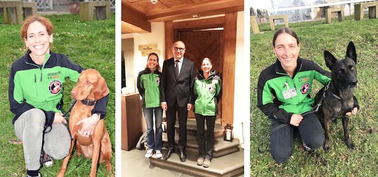 Der Bettwanzen-Team von SK-9: Sandra Schmidiger mit Hündin Enikö (links), Petra Hagedorn mit Ennya und Rudolf Muggli.