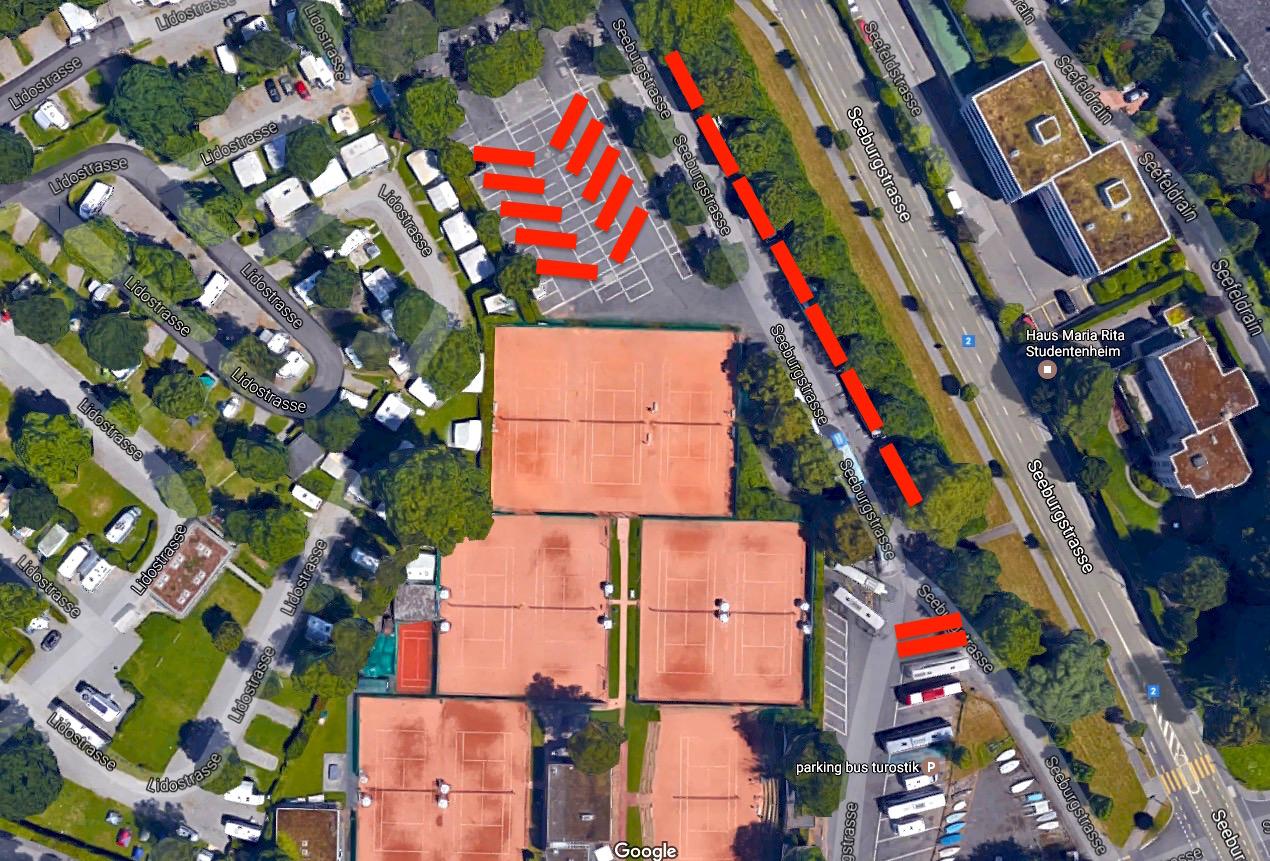 So könnten die zusätzlichen Carparkplätze im Brüelmoos aussehen – hier rot eingefärbt. Heute stehen dort Autos.