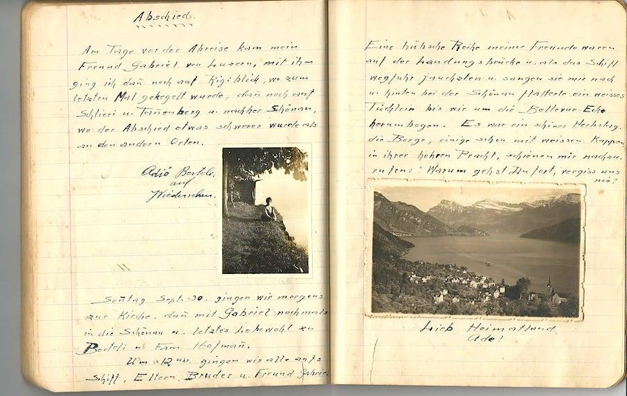 Ein Tagebuch-Auszug vor der Auswanderung.