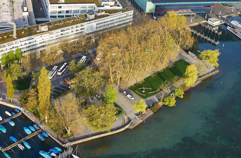 Das Inseli von oben: Dort, wo jetzt noch Cars stehen, soll bald Platz für neue Ideen geschaffen werden.