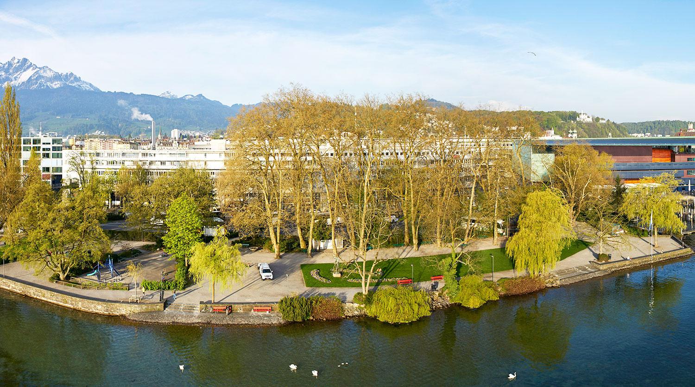 Das Inseli von oben: Die Grünanlage direkt am See ist beliebt.