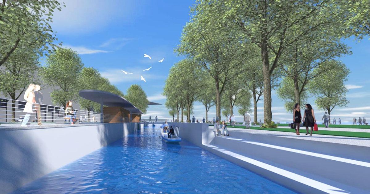 So könnte das Inseli mit wiederhergestelltem Kanal nach der Idee von Frieder Hiss aussehen.