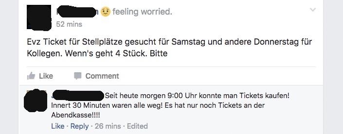 Die verzweifelte Suche nach Tickets spiegelt sich auch auf Social Media.