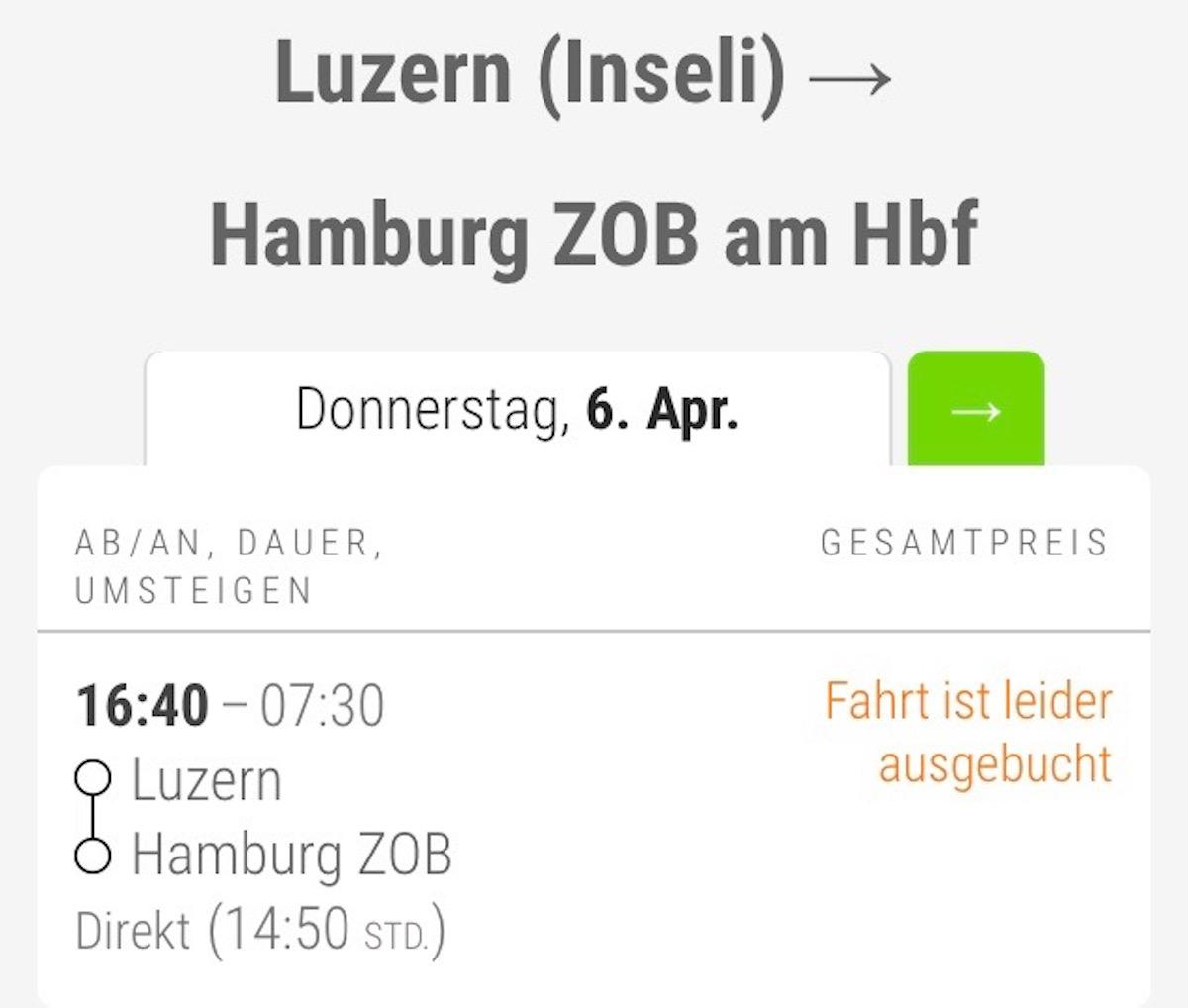«Ausverkauft», trotz nur zwei Fahrgästen ab Luzern.