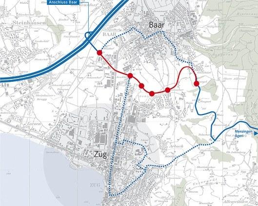 Der Bauplan Tangente Zug-Baar.