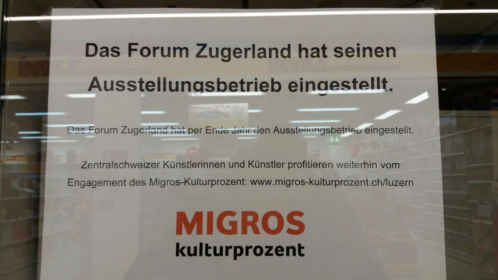 Seit Dezember 2016 geschlossen: «Forum Zugerland».