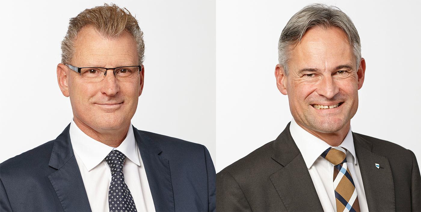 Ärgern sich über die Kampagne: Der Zuger Finanzdirektor Heinz Tännler (links) und Volkswirtschaftsdirektor Matthias Michel.