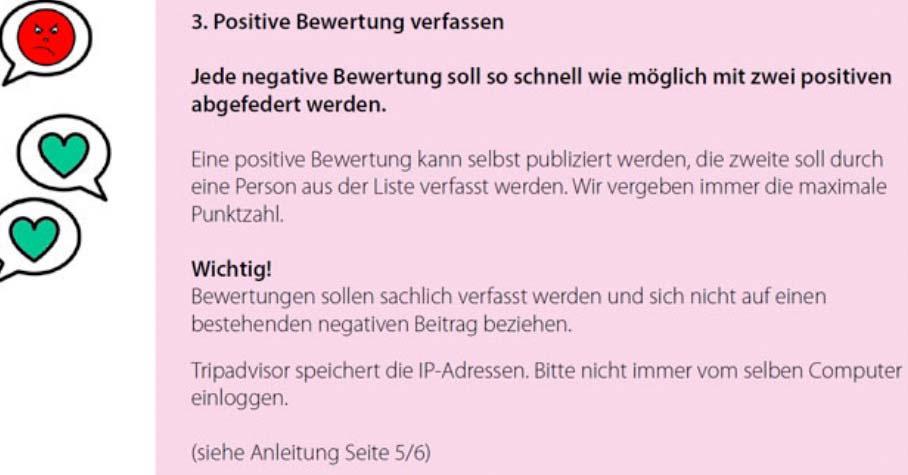 Auszug aus der internen «Anleitung zur Verwaltung der Tripadvisor Webseite» der Remimag