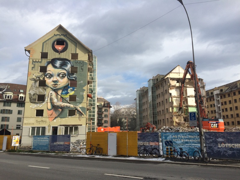 Adieu Himmelrich: Die Überbauung nach der Zwischennutzung und kurz vor dem Abbruch.