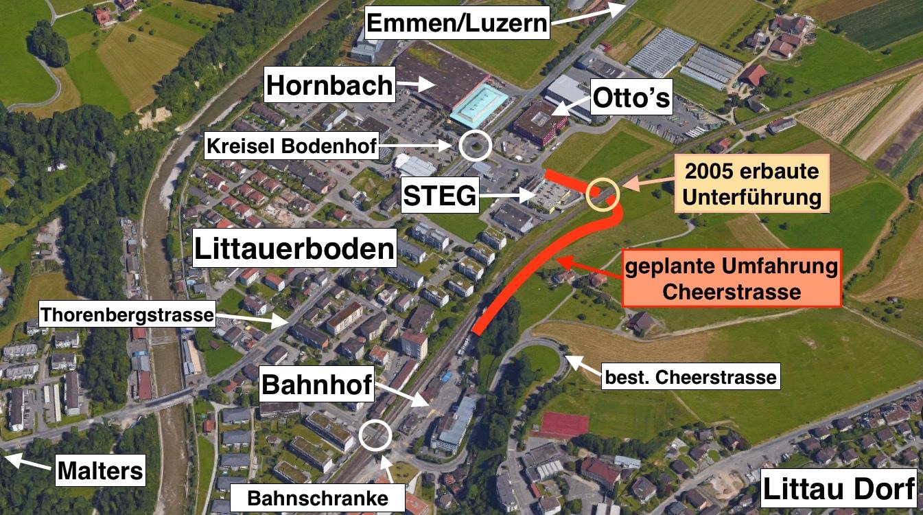Rot eingezeichnet ist die Umfahrung Cheerstrasse. Gebaut wurde 2005 erst die Unterführung unter den SBB-Gleisen.
