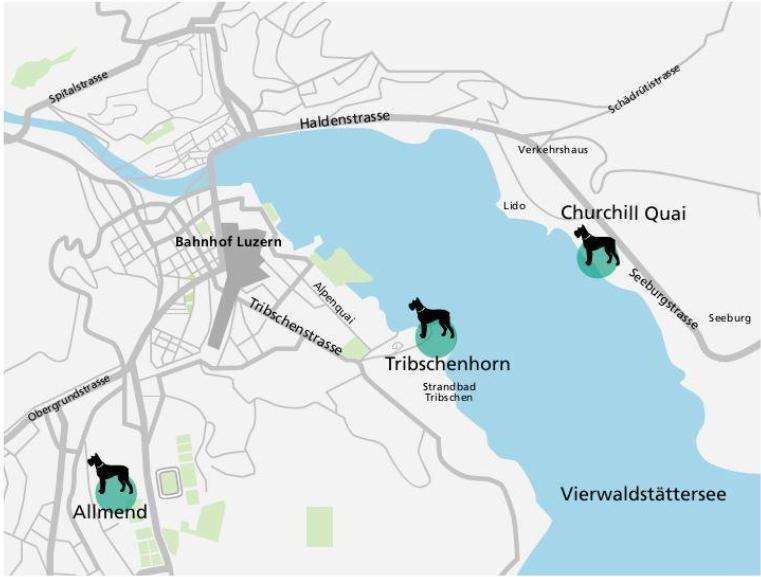Die drei Hundezonen der Stadt Luzern Allmend, Tribschenhorn und Churchill Quai.