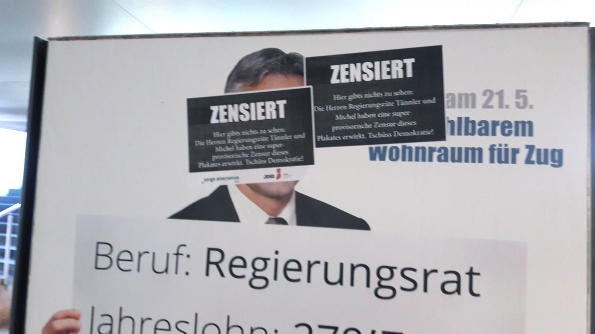 Aufgrund einer superprovisorischen Verfügung des Kantonsgerichts hängen die Plakate in Zug nun zensiert.