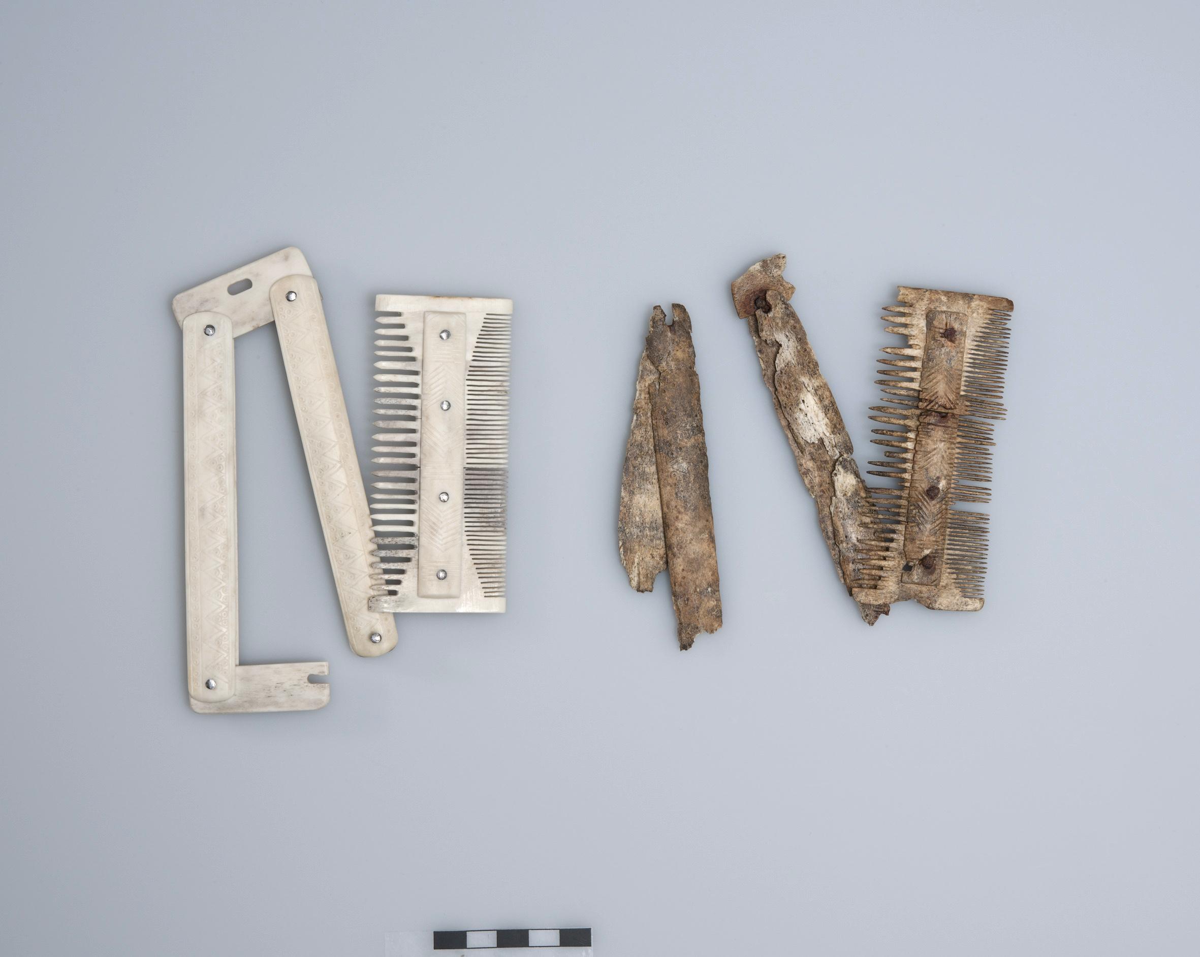 Die Alamannen trugen ihr Necessaire am Gürtel: Kamm aus Hirschgeweih, im Original und als Replik. Frühmittelalterliches Gräberfeld von Baar-Früebergstrasse, 7. Jahrhundert n. Chr.
