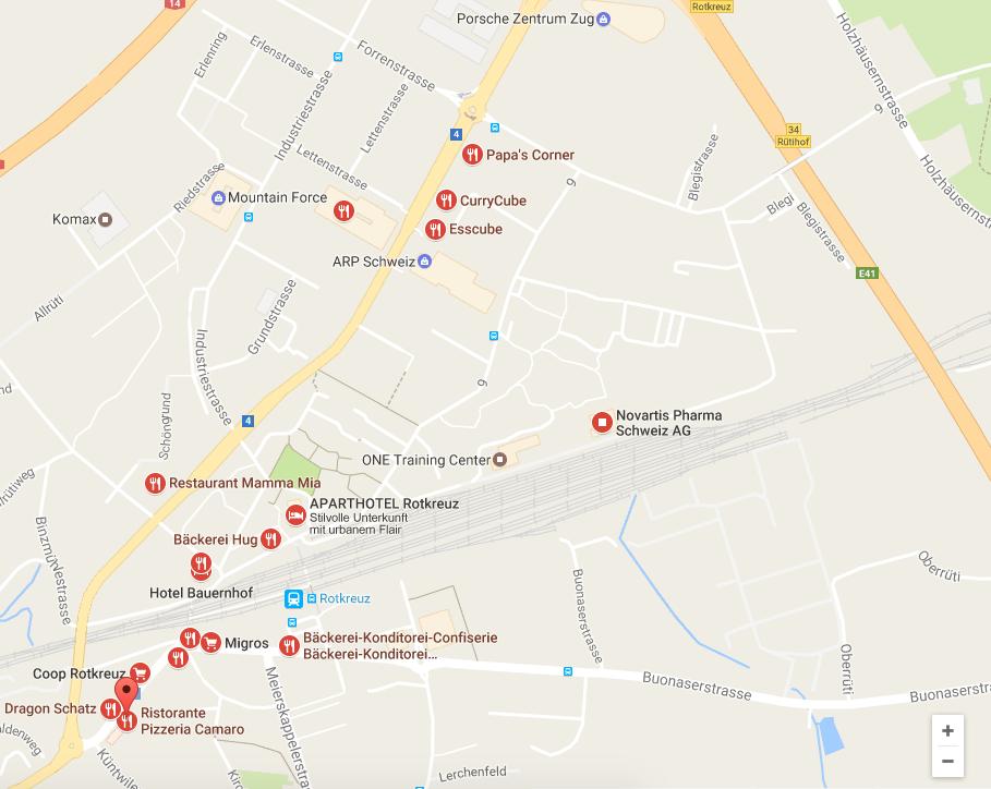 Food-Karte von der Rotkreuzer Industrie.