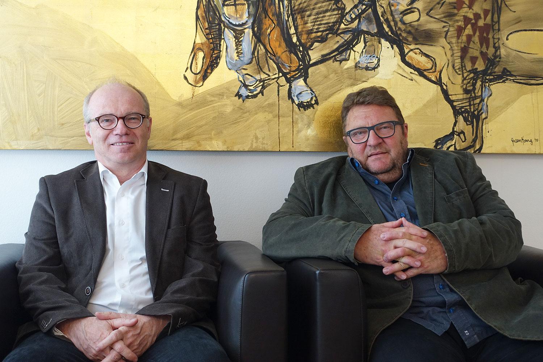 Martin Buob (links) übernimmt den ABL-Chefposten von Bruno Koch – dieser macht es sich etwas bequemer.