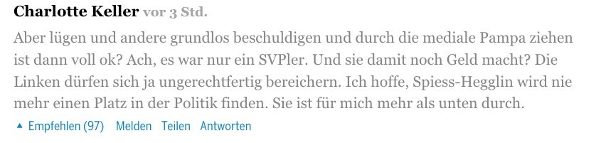 Diese Leserin regt sich über Spiess-Hegglin auf.