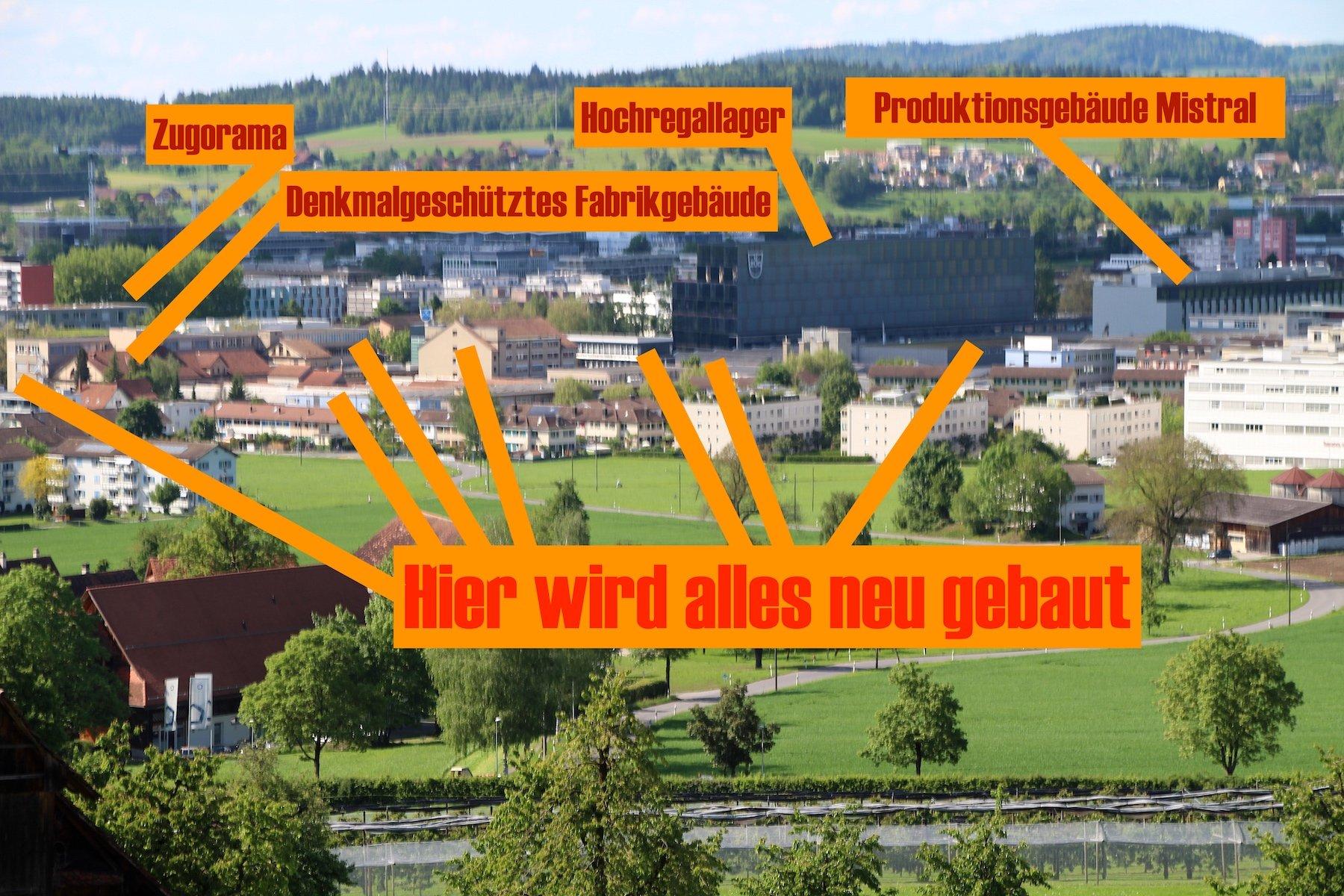 Vier Gebäude (obere Reihe) bleiben auf dem V-Zug-Areal bestehen, der ganze Rest soll neu bebaut werden.