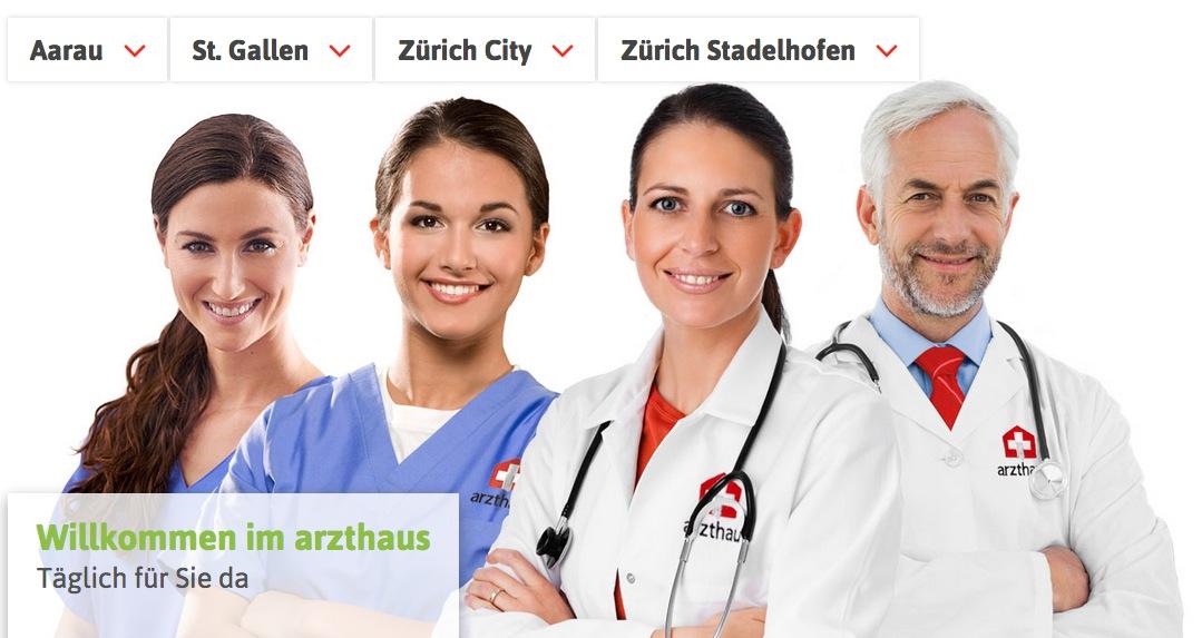 Echte Ärzte oder Models? Die Webseite von Arzthaus.ch. Die Praxisgemeinschaft expandiert demnächst nach Zug und wird neben dem Bahnhof Zug ihre Dienstleistungen anbieten.