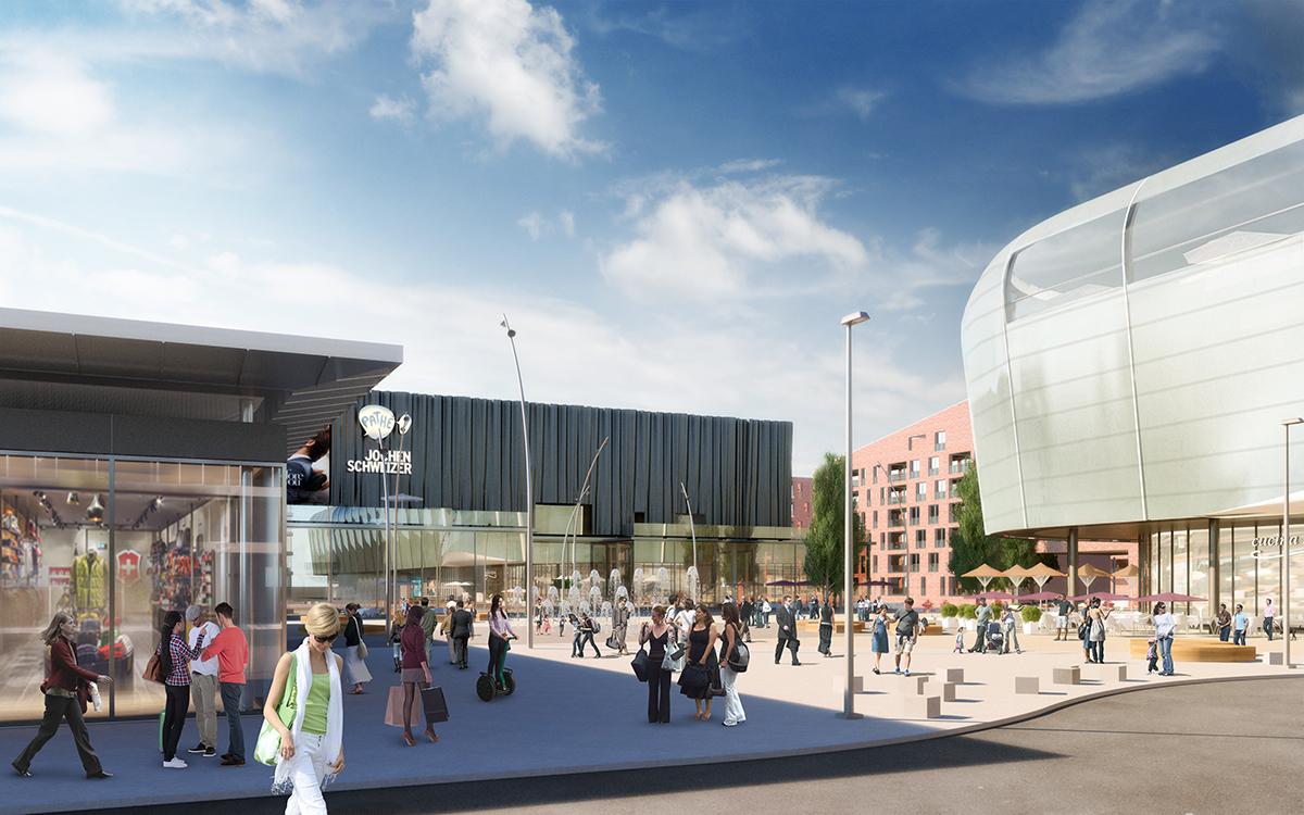 So soll der zentrale Vorplatz Ebisquare in Zukunft aussehen.
