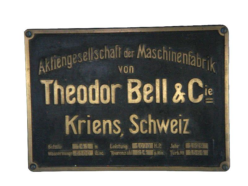 Andritz Hydro ist die Rechtsnachfolgerin der Maschinenbaufirma Bell – und die steht für industrielle Tradition am Fusse des Pilatus seit 1855. Hier ein Schild aus einem Kraftwerk in Littau.