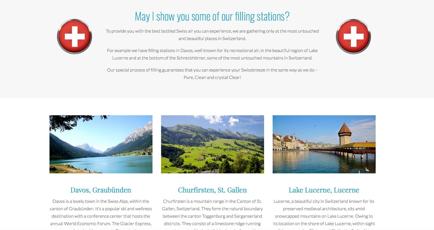 Sieht aus wie aus einer Tourismusbroschüre: Übersicht über die Abfüllstationen von Swissbreeze.