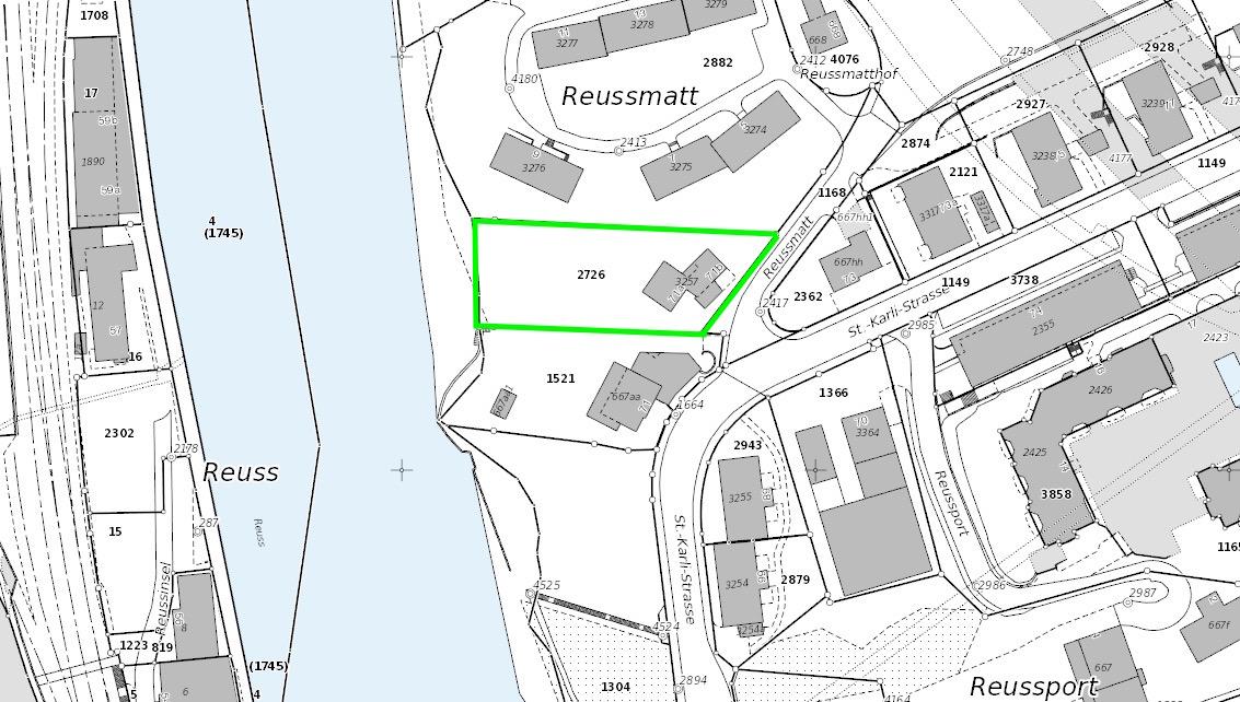 Das Grundstück von Urban Frye grün eingezeichnet.