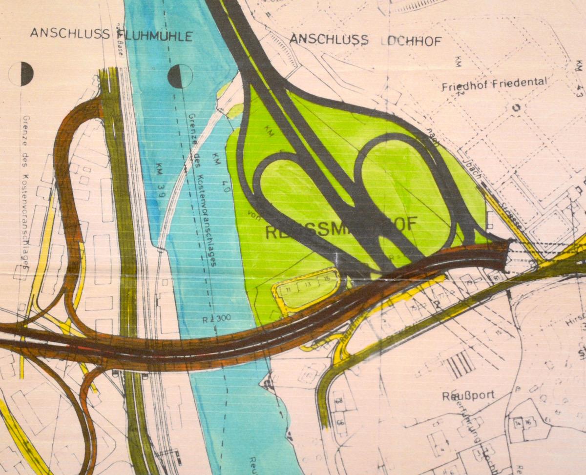 Eine nicht datierte Skizze des damaligen Projekts Nord-Tangente.