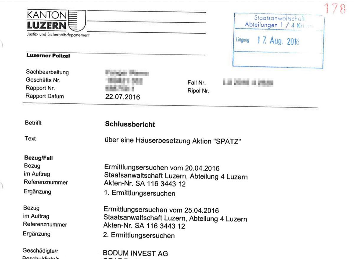 Aktion «Spatz» heisst die Gundula-Besetzung im Justiz-Deutsch.