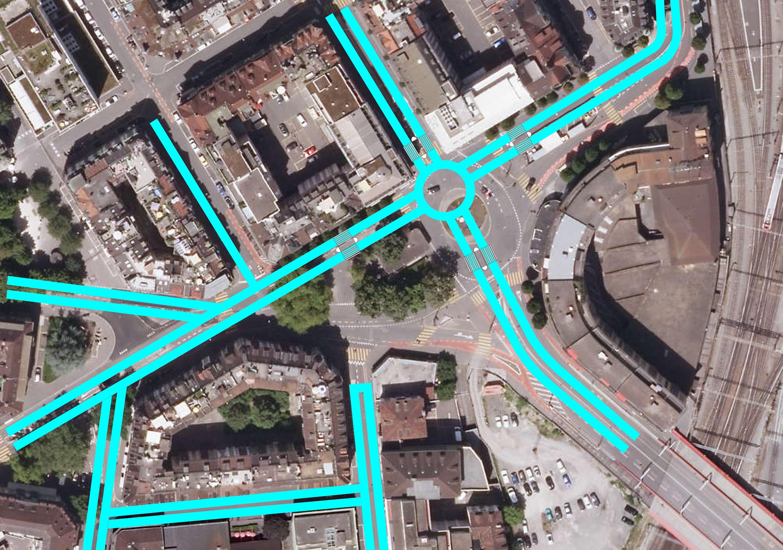 Der heutige Bundesplatz und hellblau eingezeichnet die vereinfachte Verkehrsführung.