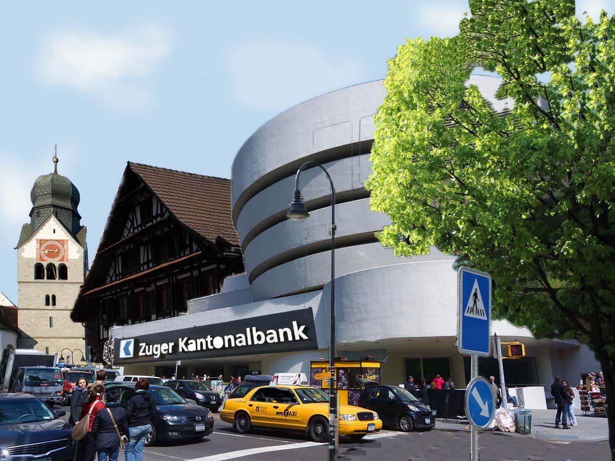 Auch in Baar gilt. Bronze war gestern. Was den Dorfkern wirklich aufpimpen würde, wär eine Bank è la Guggenheim-Museum.