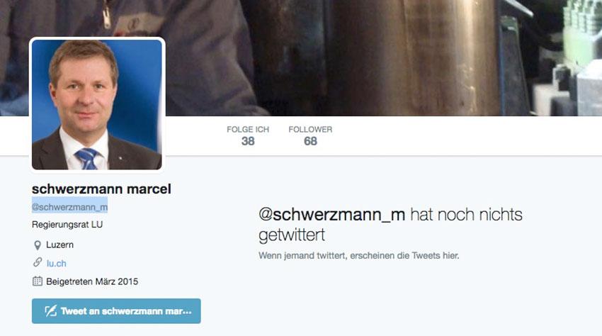 Marcel Schwerzmanns Follower warten seit 2015 auf den ersten Tweet des Finanzdirektors.