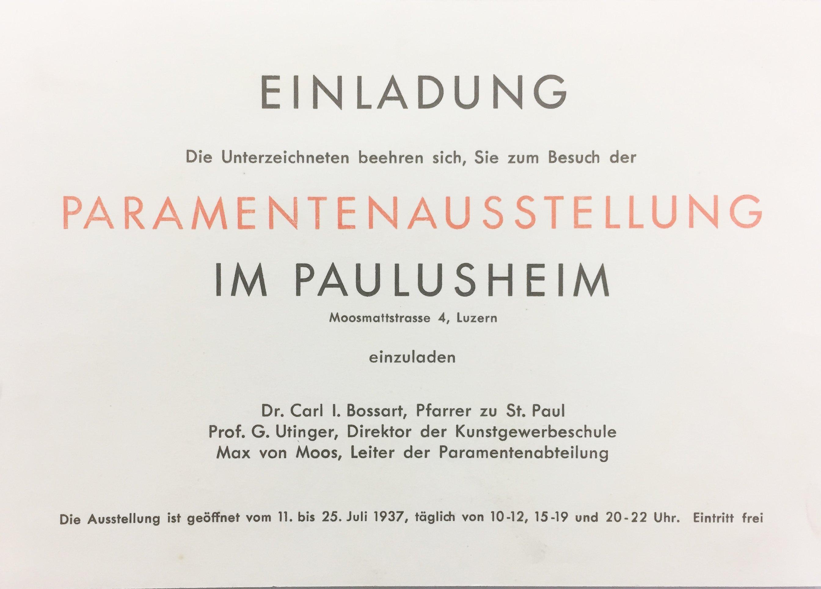 Einladungskarte zur Paramentenausstellung im Paulusheim Luzern 1937