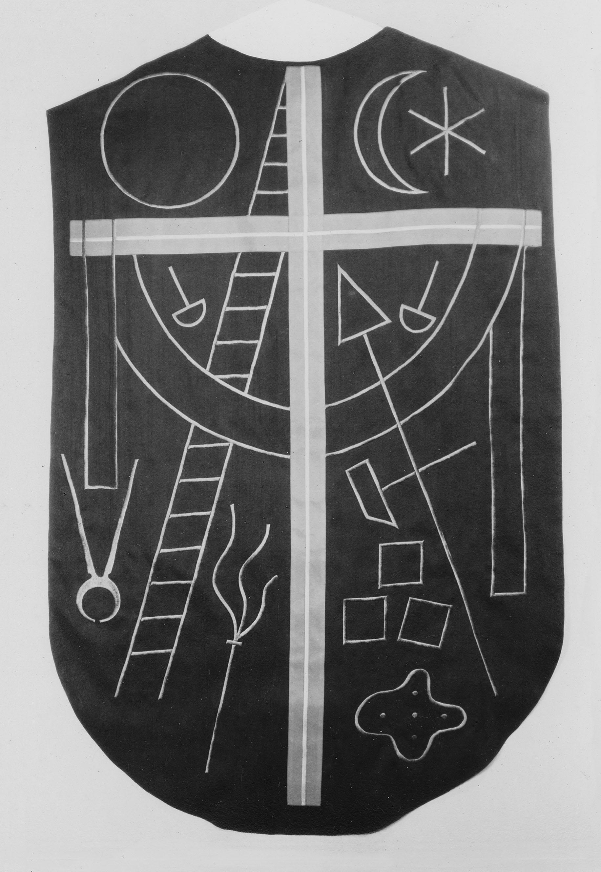 Kasel (Passion), um 1940, Handstickerei, nach einem Entwurf von Max von Moos
