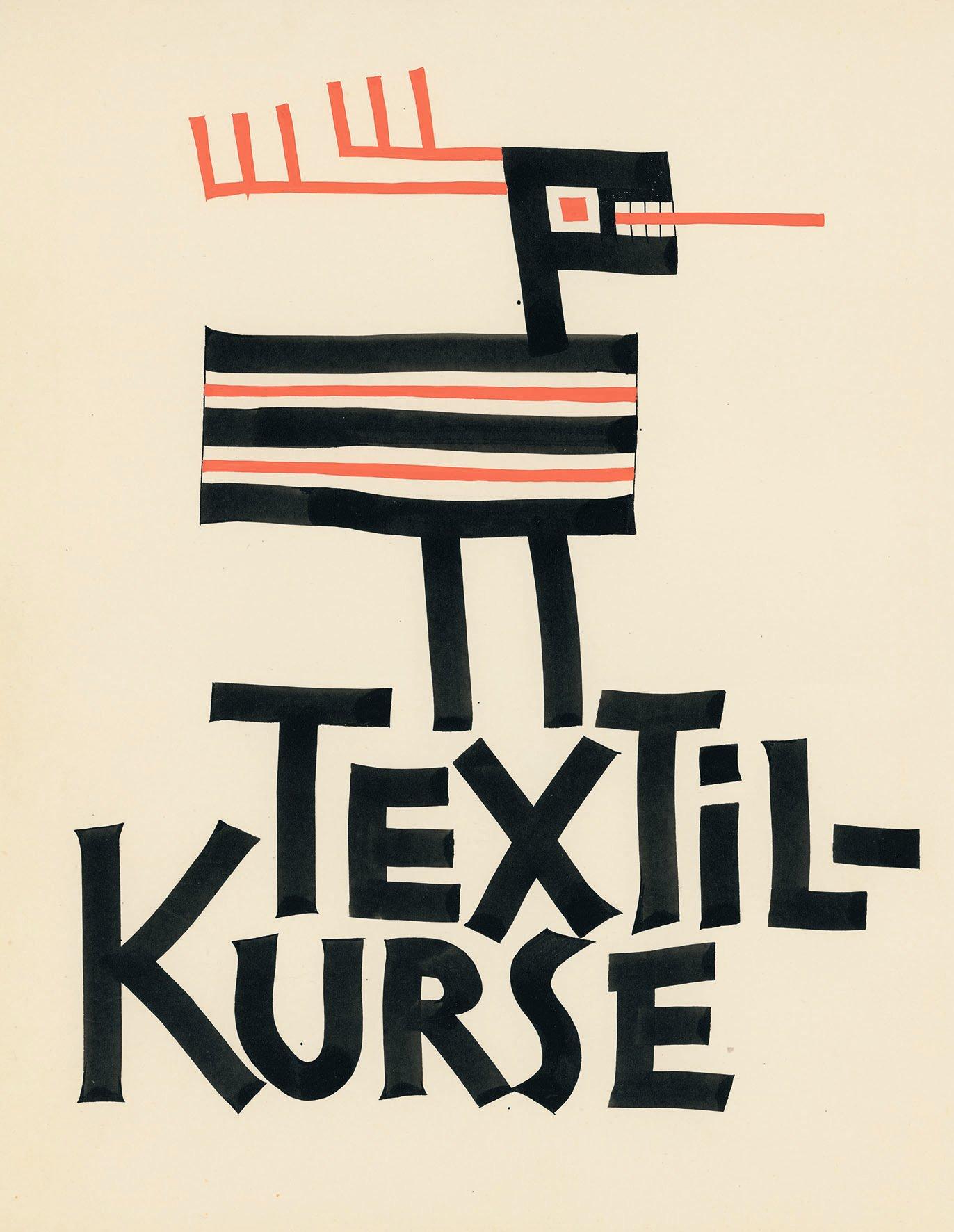 Max von Moos, Entwurf «Textil-Kurse», ohne Jahr, Tusche und Gouache auf Papier, 32.5 × 25 cm (Max von Moos Stiftung)