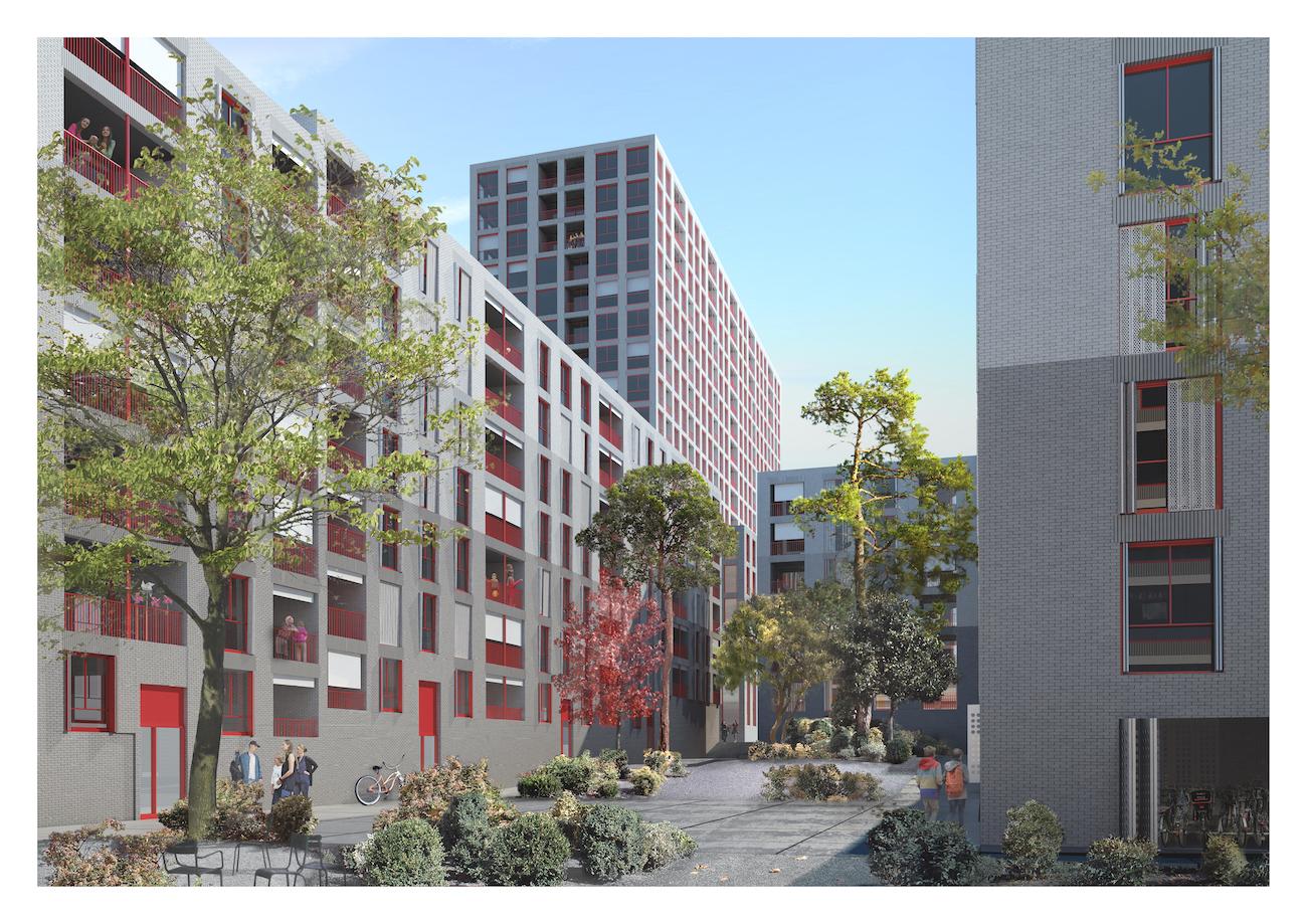 Ab 2021 sollen auf dem Nidfeld-Areal 500 Wohnungen entstehen. (Visualisierung: zvg)
