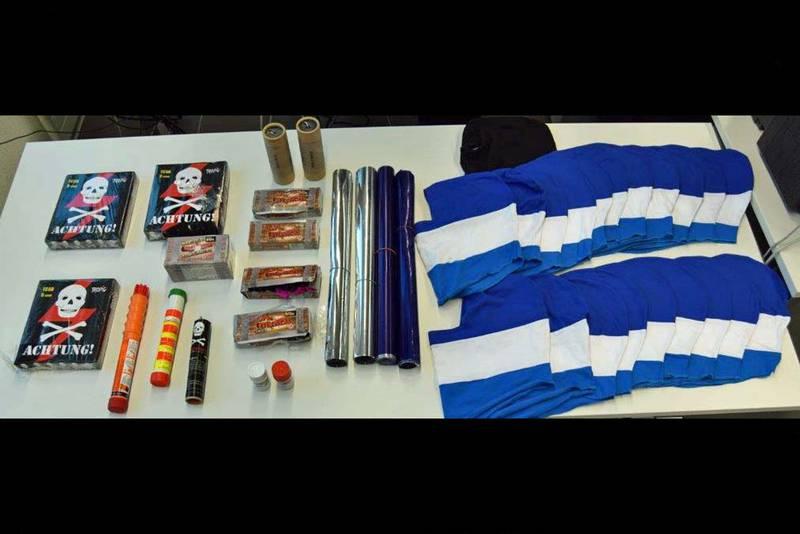 Beschlagnahmtes pyrotechnisches Material.