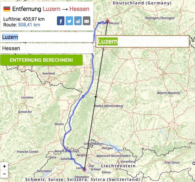 Die Hündin war 400 bis 500 Kilometer unterwegs, je nachdem, aus welcher Ortschaft im deutschen Bundesland Hessen sie in die Schweiz lief vielleicht sogar noch weiter.