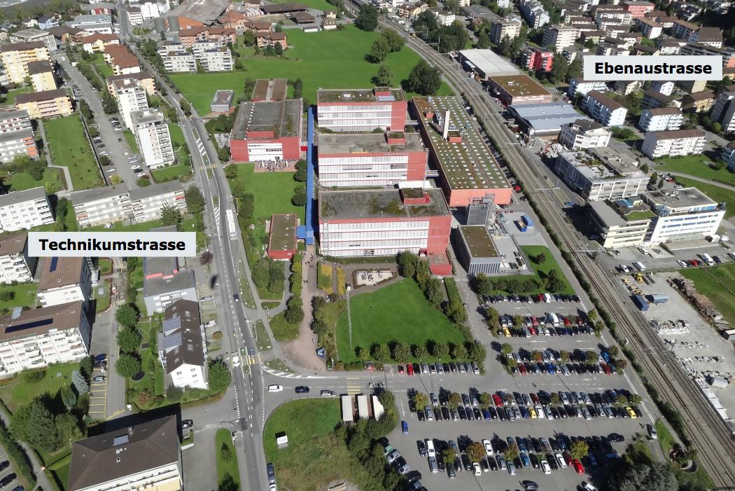 Das Areal des Campus Horw (begrenzt durch die Technikumstrasse links und das Bahngleis rechts) wird ausgebaut. Heute stehen bereits fünf Gebäude.